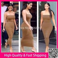 Sexy Women Maxi Dress Long Bodycon Casual Dress Vestidos Strapless Party Eveing Dress Free Shipping
