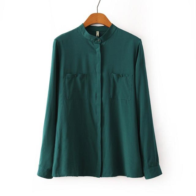 breve mulher 2014 outono formal pendulares algodão macio branco verde marinha gola simétrica bolsos manga longa blusa 201423(China (Mainland))