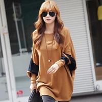 Drop shipping american apparel fashion women clothes 2014 loose o-neck   long-sleeve batwing sleeve crop topst shirt women