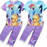 new 2014 autumn cartoon clothing set girls My little pony short sleeve t shirt+lace leggings Children clothing 8070
