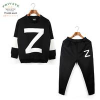 sports suit for men neoprene brand high qiality waterproof long sleeve sweatshirt with pants Z letter patchwork set Y05510