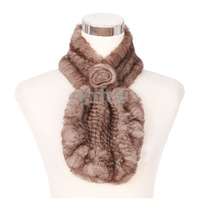 Cute and Casual Girls Winter Nicely Genuine Rex Rabbit Fur Scarf With Fur Flower Accessory Neckerchief Wrap QD30472