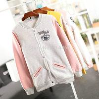[Amy] 2014 Autumn and winter new women cotton hoodies Applique letters women's fleece Snap fastener sweatshirts  805I