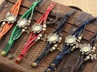 2014 Retro Weave Women Genuine Leather Vintage Watch Bracelet Butterfly Pendant Watch Quartz Wrist Watches 6Colors