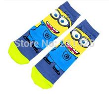 Genuine sox despicable me 2 minions socks cute cartoon socks for children kids girls boys socks(China (Mainland))