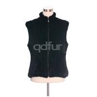 Winter Lady Fashion Genuine Natural Knitted Mink Fur Vest Waistcoat Mandarin Collar Women's Zipper Outerwear Garment QD30482