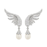 Wholesale,Free Shipping,Fashion Jewelry crystal wing with pearl drop earrings clear