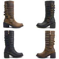 2014 Women genuine leather mid-calf cowboy motorcycle boots black brown suede leather combat boots women autumn boots flat heels