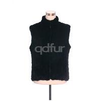 Winter Lady Fashion Genuine Natural Knitted Mink Fur Vest Waistcoat Mandarin Collar Women's Zipper Fur Gilet QD30481