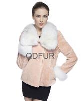 2014 Ladies' Genuine Wool Fur Jacket Coat Fox Fur Collar Winter Women Fur Short Outerewear Coats QD70834