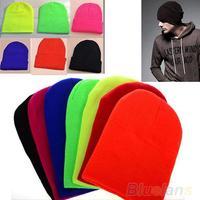 men and women new winter solid color plain knit ski cap skull cap warm hat beany cuff