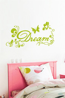 English DREAM fresh style butterfly bedroom home decorative PVC trade carved headboard wall stickers custom M502