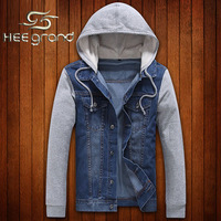 2014 Hot Sale Men's Fashion European Style Slim Fit Super Cool Denim Jacket Male Casual Splicing  Hooded Jacket  MWJ587