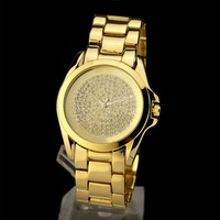 Women Dress Watches Brand Big Dial Logo Men's Gold Fashion & Casual Watch New  Rhinestone Clock quartz watch Free Shipping