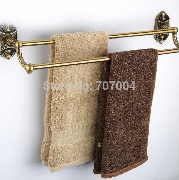 Luxury 24-inch Double Bath Towel Bar Antique Brass Finished Wall Mounted Bathroom Bath Towel Hanger Towel Rod(China (Mainland))
