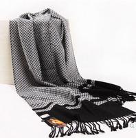 Top quality 100% wool scarf men winter scarf neck warm European men scarf long tassle jacuqard patten winter wool scarf men
