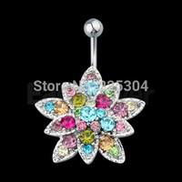 Free Shipping 20pcs Flower Crystal Steel Belly Navel Bar Ring Body Piercing