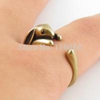 Free shipping New Fashion Boho Chic Vintage Bronze Brass Knuckle Adjustable Bunny Animal Wrap Ring Wedding Ring Men Wholesale