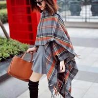 2014 autumn and winter of the original single new retro orange plaid gray wool cloak split oversized shawl fringed scarf