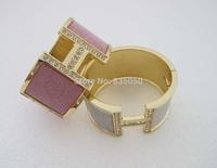 Gold GP Fashion Women Big H Design Letter Glitter Powder Bangle Bracelet SY014