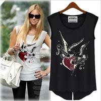 2014 summer women's new fashion models in Europe and America love birds split dovetail t-shirt printing sleeveless blouse wild