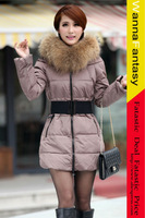 Women's Fur Collar Clip Cotton Tulip Coat With Belt winter women Luxury down coat fur collar thicken long cotton-padded jacket