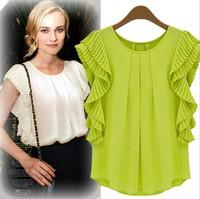 2014 summer new European and American wild fashion loose chiffon shirt women's short-sleeved shirt folds Feifei sleeve T-shirt