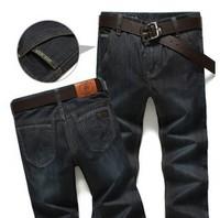 2014 Men's straight jeans pants brand fashion black cotton jeans big size high quality