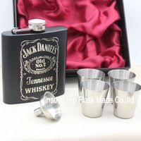 Engraved hip  flask  6oz black and white  stainless steel  flask with  4 cups and one funnel in gift box ,wedding gift set