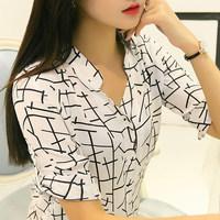 Free shipping blusas femininas 2014 women casual blouse 3 color