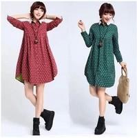 free shipping ! 2014 female loose cotton linen dress women's literary turn down collar clothing girl's dot long sleeve dress