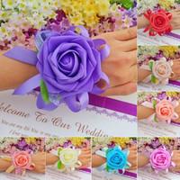 10x Wedding Bride Wrist Flowers Sister Married Corsage in Return Wedding Wrist Bridesmaid Artificial Silk Yarn Hand Flower