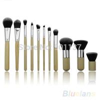 11pcs bamboo handle makeup brushes set cosmetic eyeshadow foundation concealer CZ015