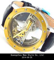 HOT!2014 Luxury Men Watches 10pcs Fast Shipping Skeleton Automatic Watch,JARAGAR Watch,Genuine Leather,LLW-J-1030-10