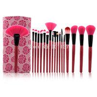 free shipping 18pcs professional makeup brush set cosmetics make up brush set tools kits with makeup brushes leather case CZ016
