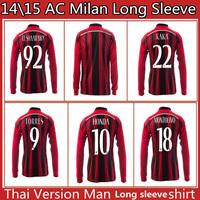 TORRES 14 15 AC Milan Jersey 2015 AC Milan long sleeve Jerseys 14/15 Home Red KAKA HONDA SHAARAWY 2014 full Football Shirts