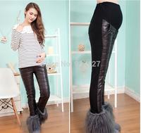 2015 winter new fashion Korean style thick leggings for maternity plus velet warm pants pregnant women skinny belly pants M-XXL