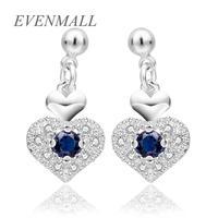 Wholesale Fashion Accessories 925 Jewelry Silver Plated CZ Diamond Sterling Heart Drop Earrings for Women Girl 23*11 MM E5660