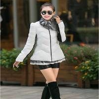 2014 New Brand Fashion Clothing Fur Hooded Zipper Long Style Women Warm Down Coat 5 Colors Winter parkas coat Size M-XXL OL-Z2