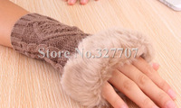 2014 Free Shipping New Fashion Prismatic Fingerless Knitted Wool Faux Fur Women Gloves Korean Pure Color Lady Mitts 7 Colors