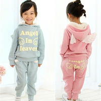 2014 Fashion girl Outfits Children clothing Sets Suits angel wings thicken cashmere fleece hooded Coat+Harem pants
