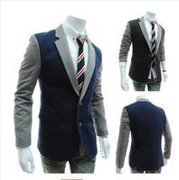 2014 Hot Sale Men's Velvet Blazer Slim Fit Corduroy Casual Suit Jacket Winter Patchwork Fashion Blazers Men Plus Size ,men suit