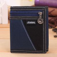 Brand Men Wallet Short Wallet thin Canvas Purse fashion simple fold Leather Wallet