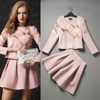 2014 Autumn Winter Women's Blazer Suit Work wear Office Lady OL Dress Long Sleeve Geometric Pattern Dresses Clothing Set 7213