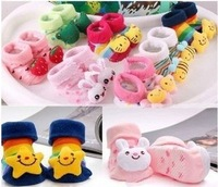 12pcs=6pairs/lot Free shipping Baby Socks Newborn Baby Outdoor Shoes Baby Anti-slip Walking Children Sock  Wholesale #0979