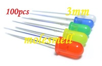 Free shipping 100PCS 5 value 3mm diffused red,yellow,blue,green,white R,G,B,W,Y,LED mixed colors led 20pcs each color