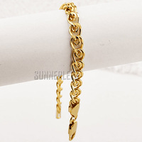 6mm Fashion Jewelry Mens Womens Snail Link Chain 18K Yellow Gold Filled Bracelet Free Shipping Gold Jewellery C09 YB
