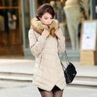 New 2014 Fashion Women Down Cotton-padded Slim fur collar Winter Long Coats Jackets For Women Autumn Jacket Free shipping