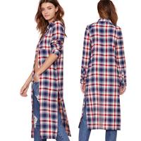 2014 women blouse shirt long retro BF split ends long paragraph loose England Plaid blouse polo shirt women long sleeve