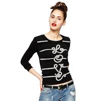 print string pattern printing black long sleeved t-shirt female T-shirt bottoming shirt emoji